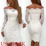 Sexy Women's Bandage Bodycon Long Sleeve Off Shoulder Evening Party Lace White Short Mini Dress