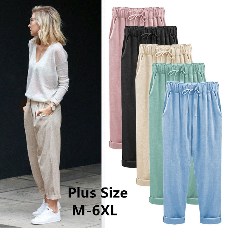 Cotton Linen Harem Pants Women's Cargo Pants Womens Pants Full Length Pants