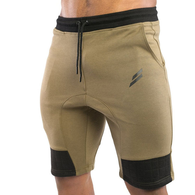 Costbuys  Outdoor Summer Muscle training men sport fitness running training GYM absorbent cotton Elastic waist patchwork shorts