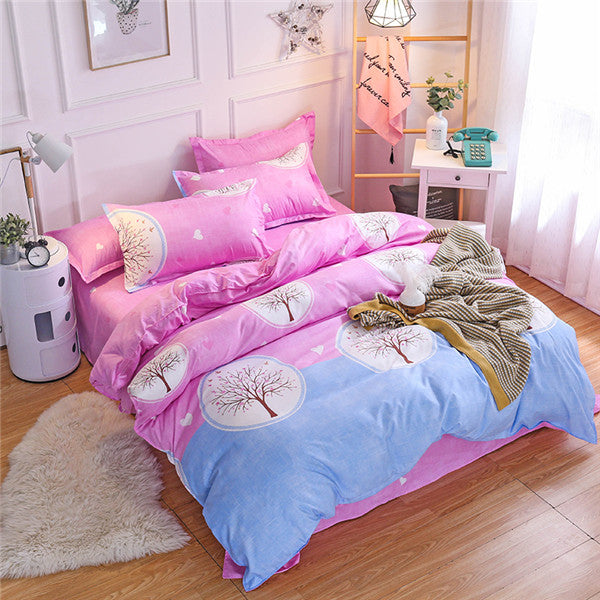 Luxury pink flamingos Cartoon Printing Double king queen Pattern Bedding sets Duvet cover Flat sheet Pillowcase 1