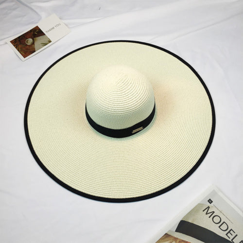 90b15b8b17d Summer Floppy Straw Hats Fold-able Beach Hats for Women Female Sunbonnet  Ladies Vacation Large Wide Brimmed Sun Hats