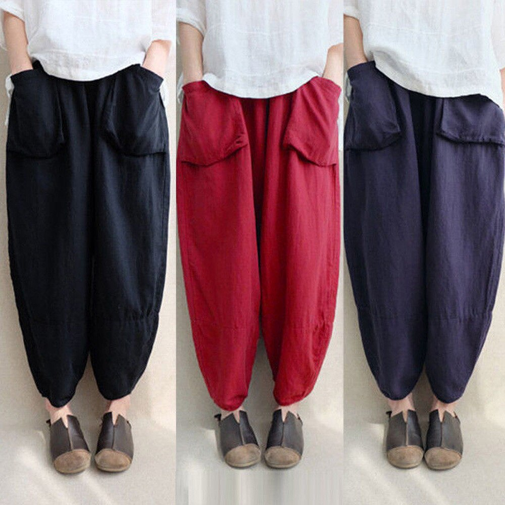 Trousers Pants Ethnic Oversize Loose Vintage High-Waist Plus-Size Casual Fashion Women Womens Pants Full Length Pants