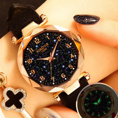 Women's Watches Fashion Ladies Watches Starry Sky Rhinestone Quartz Watch Bracelet Clock Dress Wristwatch