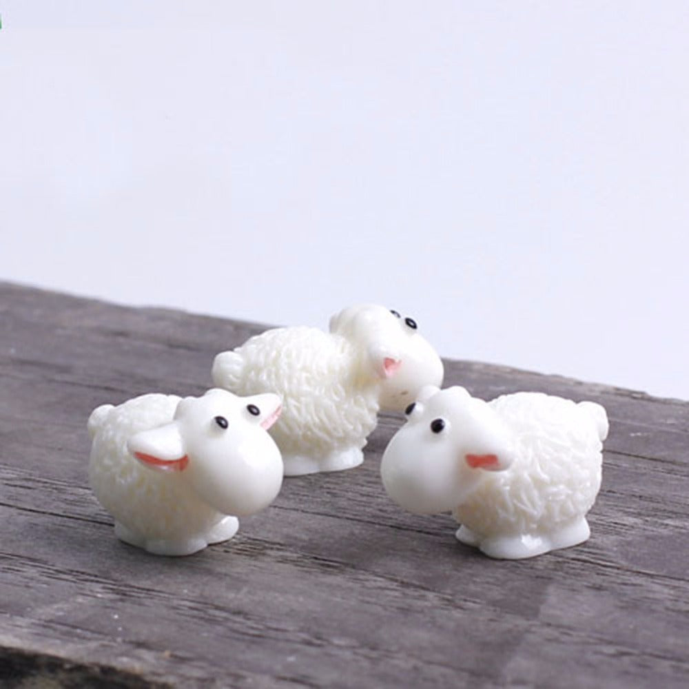 Costbuys  3 PCS Set Mini Sheep Dolphins Animals Home Micro Fairy Garden Figurines Home Garden Decor Accessories D5 - white