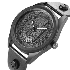Vintage Punk Men's Watch Head Design Quartz Analog Creative Skeleton Watch Male Wrist Genuine Leather