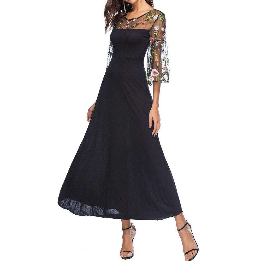 Summer Plus size 2xl 3xl Dress Womens Elegant 3/4 Sleeve Tulle Long Black Dress Cocktail Party Dress
