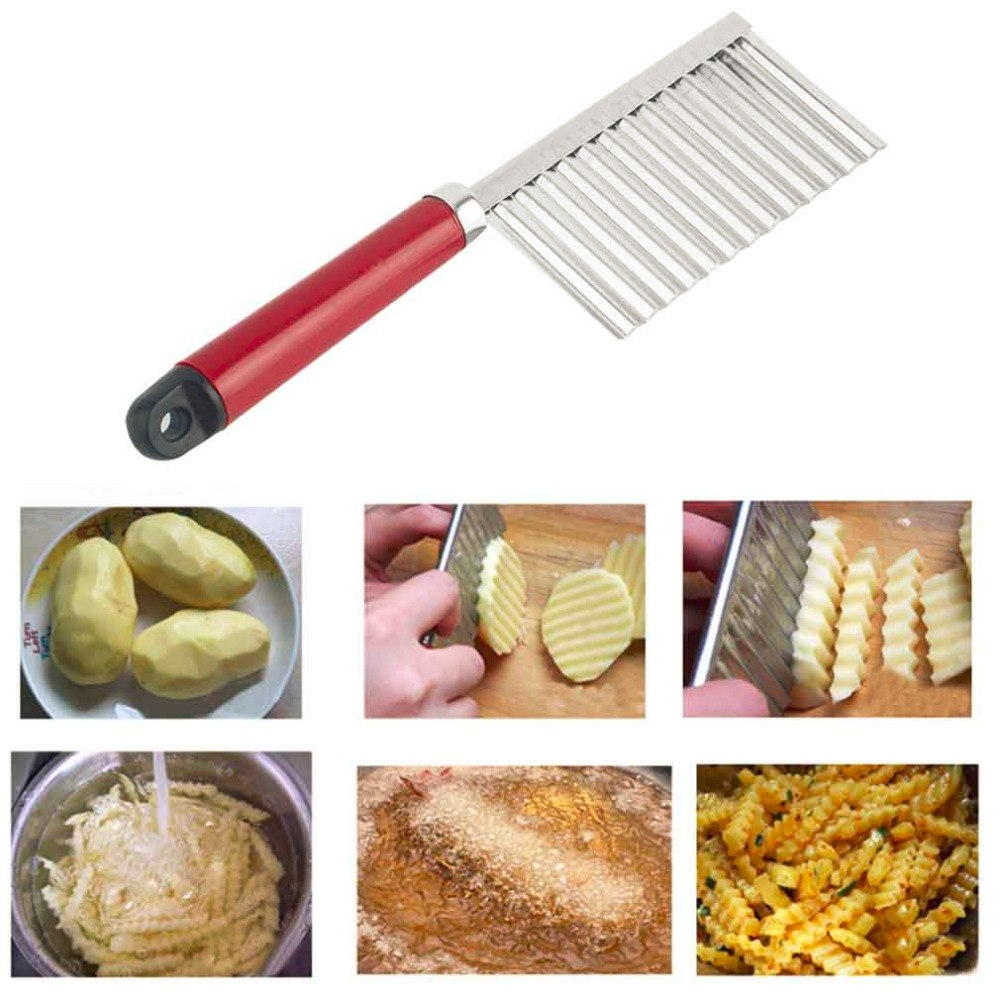 Costbuys  1Pc Stainless Steel Potato Wavy Edged Knife Gadget Vegetable Fruit Potato Cutter Peeler Cooking Tools Kitchen Knives A