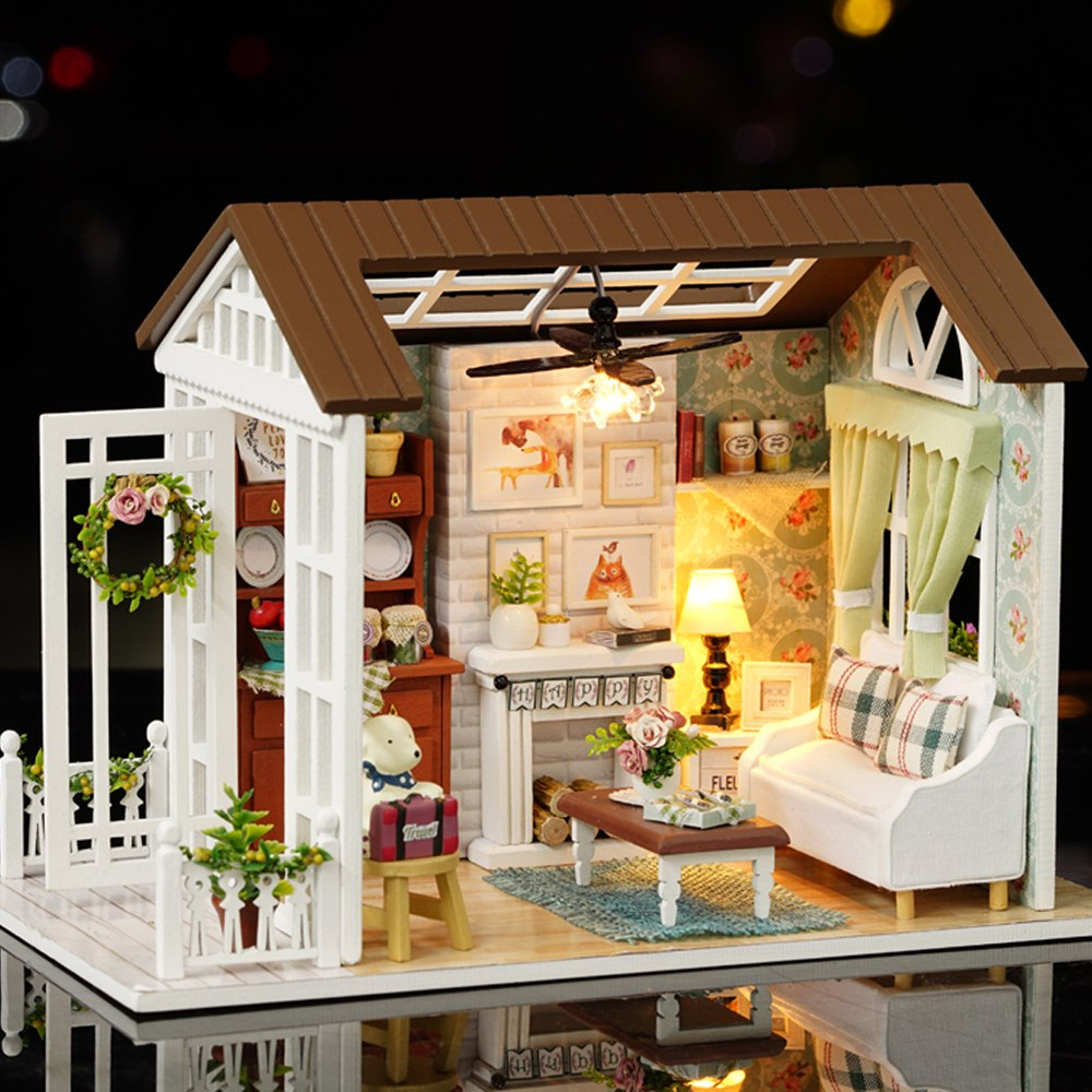 Costbuys  Miniature Dollhouse Kit Realistic LED Mini 3D Wooden Home Decoration Accessories Room Children's Day Birthday Christma