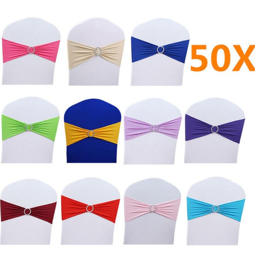 50Pcs Pop Sashes Band Bow Decor Banquet Elasticity Buckle Party Chair Cover Chair Wedding