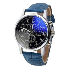 Leisure Fashion Creative Watch Luxury Fashion Faux Leather Blue Ray Glass Quartz Analog Watches