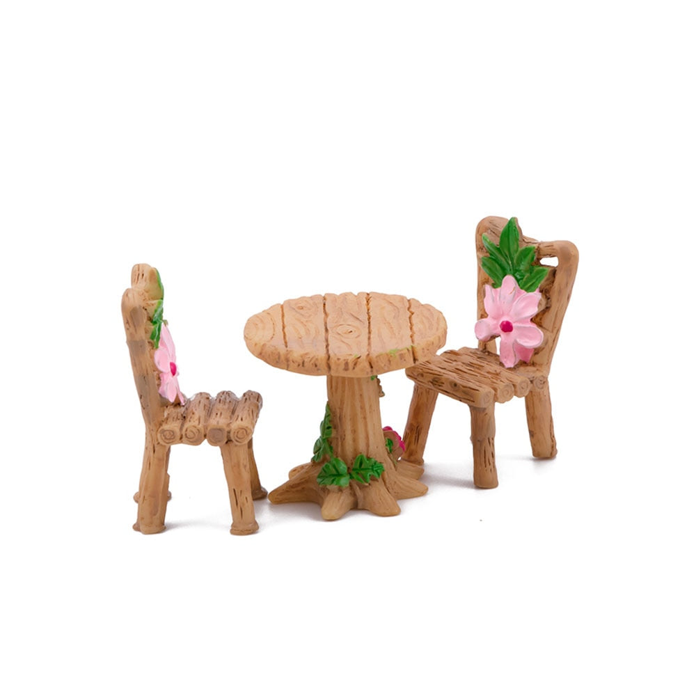 Costbuys  3 pcs/set Cute Table Chair Craft Micro Fairy Garden Miniature Home Decoration Accessories