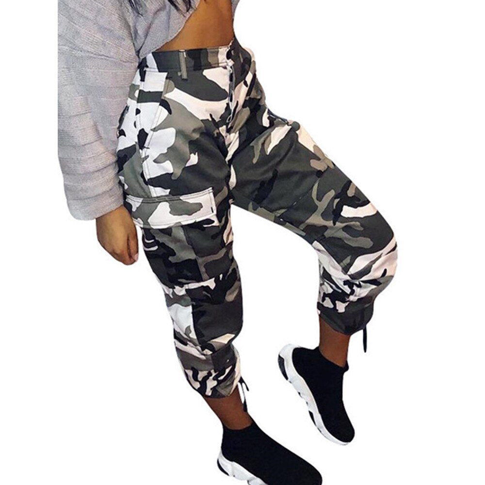 Camouflage Womens Casual Cargo Joggers Trouser Camo Pants Womens Pants Full Length Pants