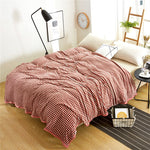 Small red lattice print summer throw blankets coral fleece plaids bedsheet multifunctional bedspread