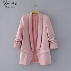Jacket Women Elegant 5 Color Outerwear Pocket Office Casual Fashion Jacket Womens Jackets And Coats