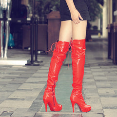 Over Knee Women Boots Sexy Fetish Dance Nightclub Party Shoes Extreme High Heel 11CM Platform Zipper Women Boots Plus size 34-43