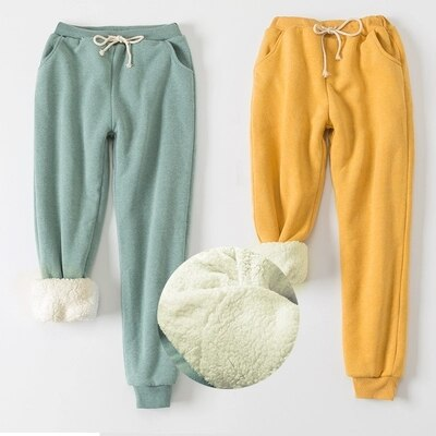 Loose Trousers Harem-Pants Warm Winter Casual Thicker Elastic Cashmere Womens Pants Full Length Pants