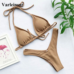 Bikini Set Women Two-Pieces Female Swimwear With Halter Bather Bathing Suit
