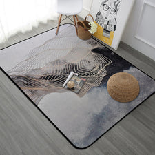 Nordic Style Golden Stripe Rectangle Tapete Thicken Soft Mat Modern Bedroom Large Carpets Living Room Rugs Kids Play Area Mats