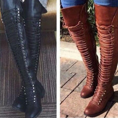 Women boots knee high booties shoes woman cross-tied riding gladiator
