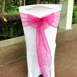 50 Pieces Pink color Sash Chair Cover Bow Banquet Wedding Party Decoration