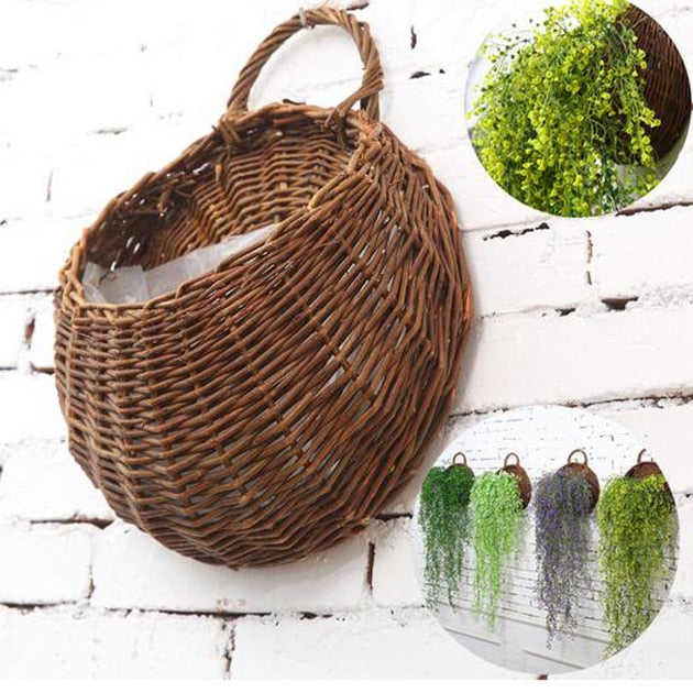 Costbuys  Rattan Flower Basket Flower Pot Planter 31x38cm Hanging Vase Container Home Garden Wall Decoration Garden Supplies Acc