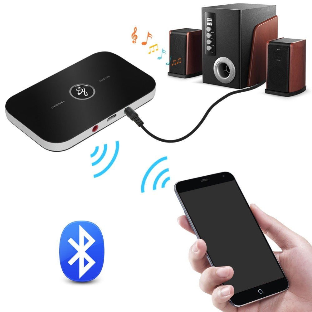 Costbuys  Hifi A2DP Bluetooth Audio Transmitter Receiver Adapter with 3.5mm Stereo Output Audio Player Aux for iPhone Samsung He