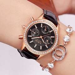 Top Luxury Women Watches Leisure fashion Leather Quartz Ladies Diamond Dress watch Female gift