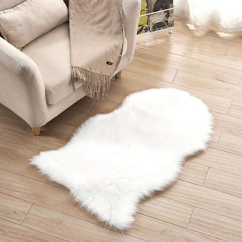 Costbuys  Luxury Furry Faux Sheepskin Rug Carpets Natural Cutting for Home Living Room Silky Long Wool Sofa Chair Mat Home Decor