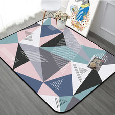 Colorful Geometric Rug Home Decorative Modern Style Living Room Carpet Rug Anti-Slip Thicken Rectangle Bedroom Bed Side Floormat
