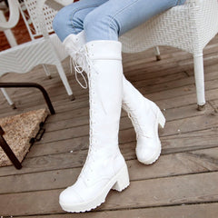 Autumn platform long boots style women high heel Knee-High boots female lace up cos women Boots Big size