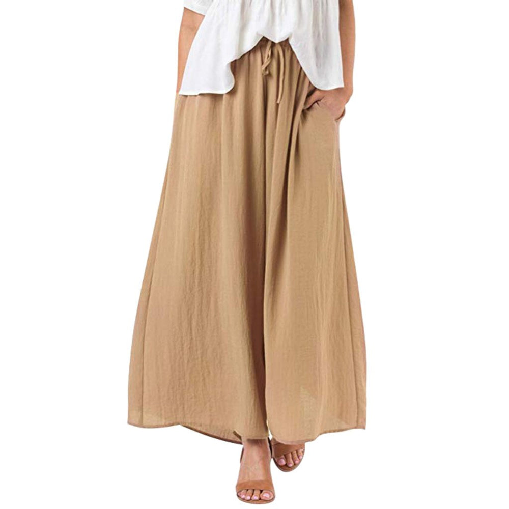 New-Trousers Leg-Pants Boho Plus-Size Women Loose Casual For Solid-Color Harem Wide Womens Pants Full Length Pants