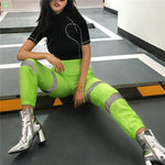 Streetwear Trousers Jogger-Pants Reflective High-Waist Harajuku-Style Casual Women Ladies Womens Pants Full Length Pants