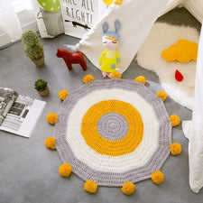 INS Nordic style Crochet Knitted Round Rug for Kids Bedroom Decoration Carpets Home Decor Baby Blanket Game Mat Pink Window Cush