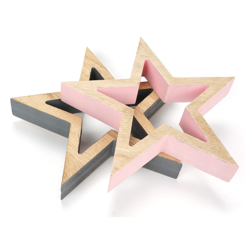 Costbuys  Home decoration accessories 1 pair of wood star pink & grey vintage handmade Craft Gift table decor - 1 pair of small