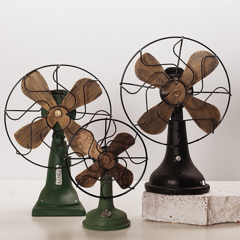 Costbuys  Home Decoration Accessories Vintage Fan Miniature Figurines Home Decor Gifts Ornament - Black