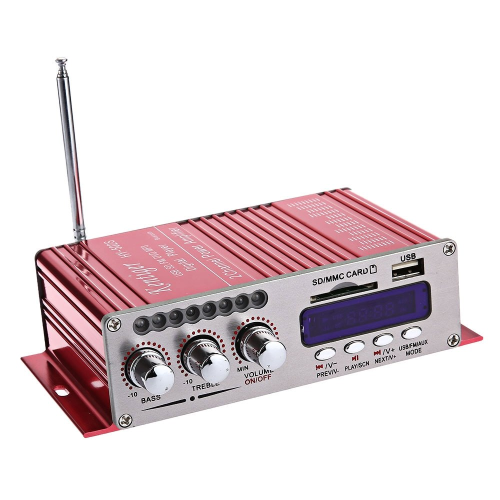 Costbuys  Kentiger Mini 2-Channel Bluetooth 4.0 HiFi FM Stereo Audio Output Power Amplifier - Red