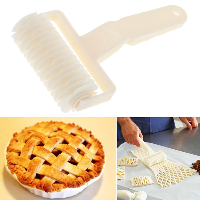 Costbuys  White Cutter Dough Bakery Roller Plastic Baking Tool Cookie Pie Pizza Bread Pastry Lattice Roller Cutter Kitchen Bakin