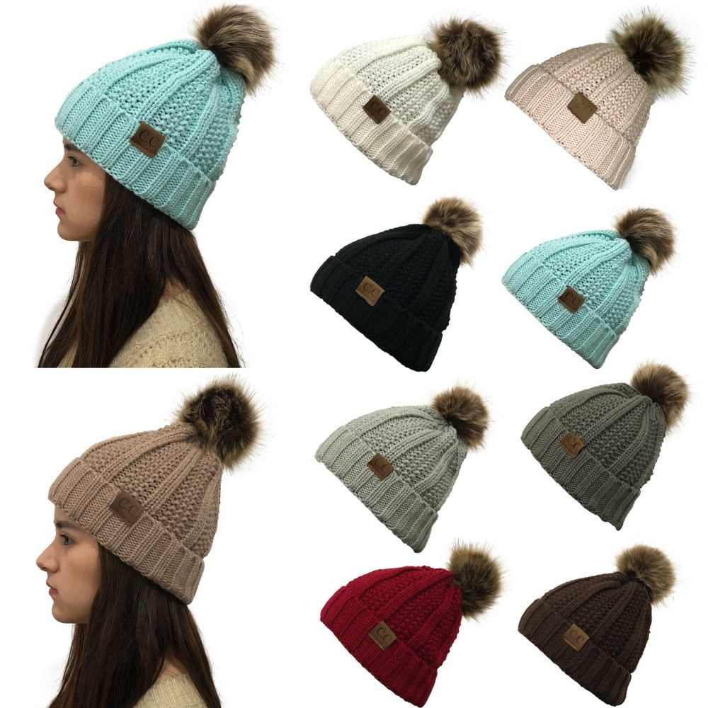fb3bcedd3a1f7 Lady s Winter Warm knitted hats Beanie CC with Cute Faux Fur Pom Pom B –  Costbuys