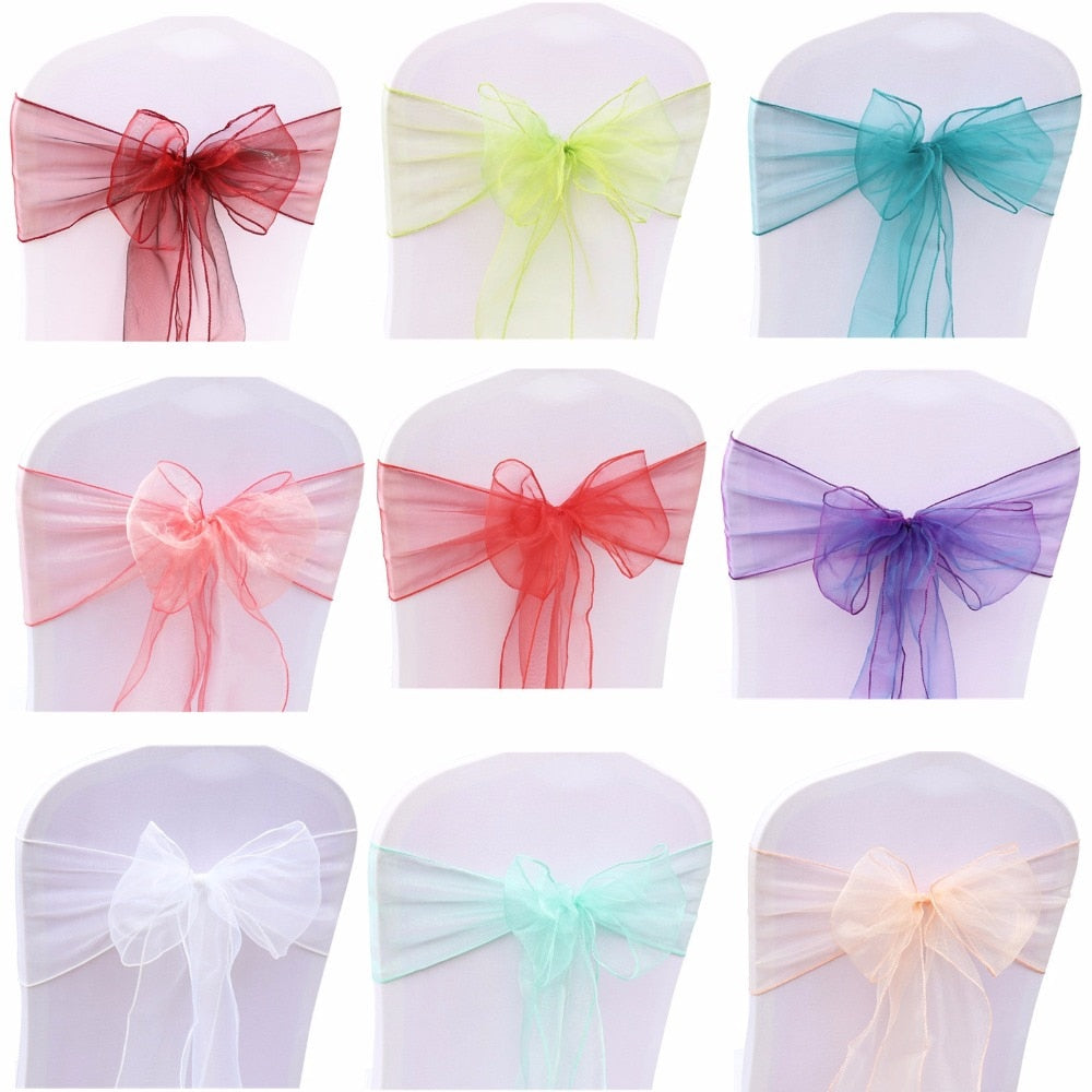 18x275cm Organza Fabric Ribbon Chair Sashes For Wedding Banquet Event Birthday Party Decoration Home Textile Chair Cover