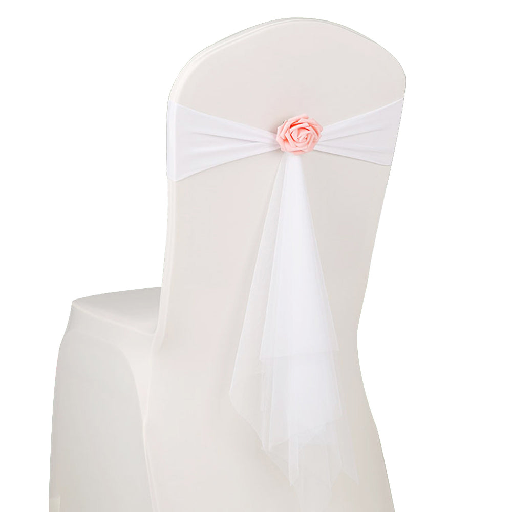 Flower Chair Ribbon Chair Bow Sash Wedding Party Chair Cover Chair Back Decorations