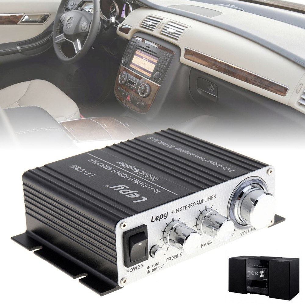 Mini 12V Hi-Fi Stereo Car Power Amplifier HiFi Audio Amplifier Amp Support MP3 MP4 iPod Input for Auto Motorcycle