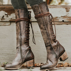 Women Boots Knee High Shoes Woman Chunky High Heels Gladiator Boutique Lace Up Booties