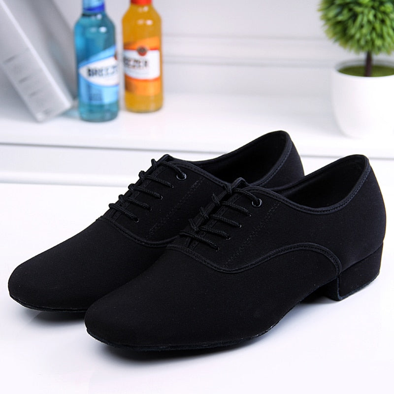 Men's Latin Ballroom Dance Shoes Professional Black Canvas Latin Salsa Shoes Plus Size Low Heel Tango Ballroom Dance Shoes Men