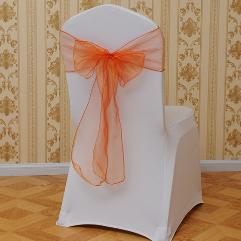 10pcs Organza Chair Sashes Bow Cover chair sashes tulle For Weddings Events &Party Banquet Christmas Decoration