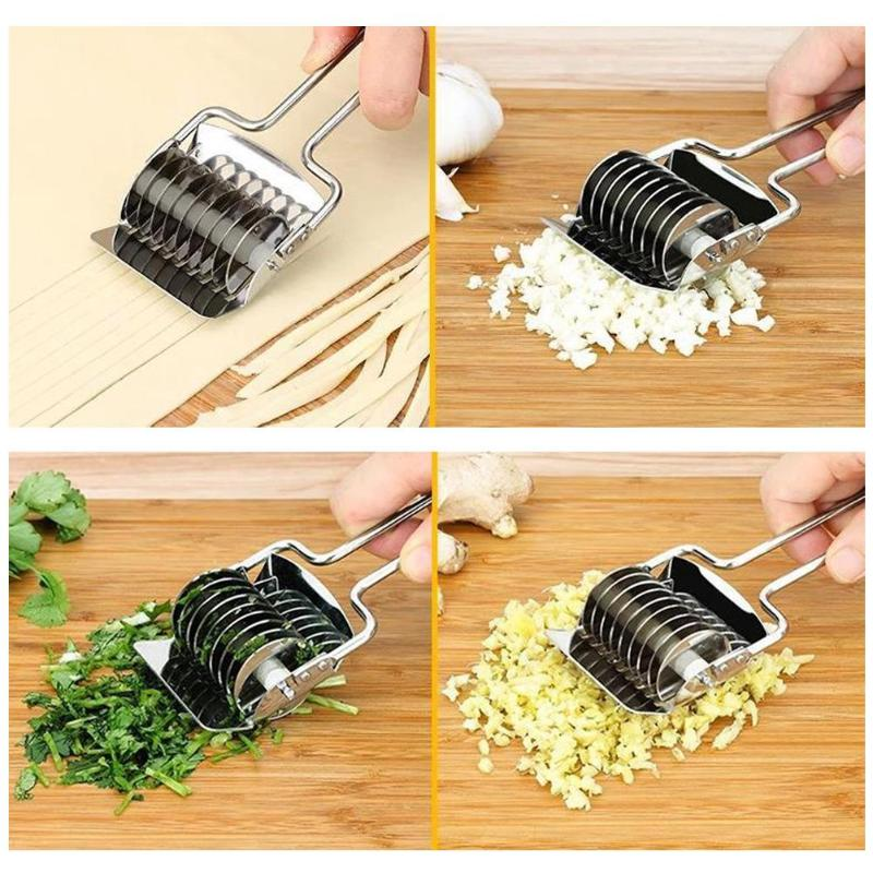 Costbuys  Kitchen Tool Multi-function Stainless Steel DIY Roller Cutter Shredder Spice Slicer Manual Noodles Making Machine Kitc
