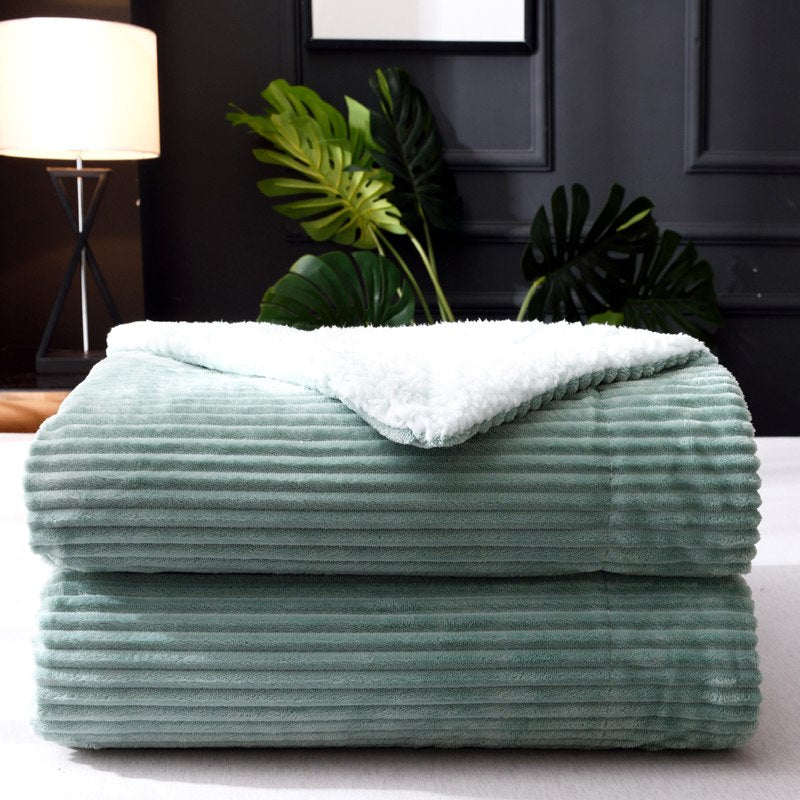 Warm Thick Reversible Sherpa Fleece Bed Blanket Stripes Throw Couch Sofa Velvet Bedspread 150*200cm 200*230cm