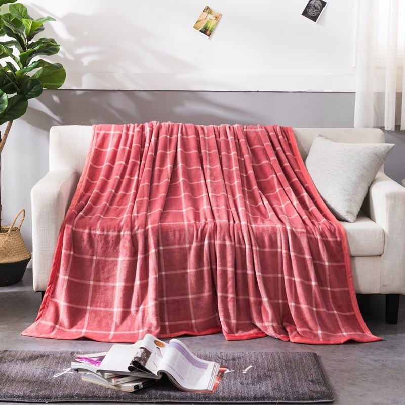 Red Grid Pattern Flannel Coral Fleece Blanket Adult Kids Soft Home Sheets Cover for Couch Bed Sofa Travel Office Throw Blanket