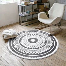 Nordic Gray Round Carpets for Living Room Computer Chair Area Rug Children Play Tent Floor Anti-slip Mat Cloakroom Bedroom Rugs