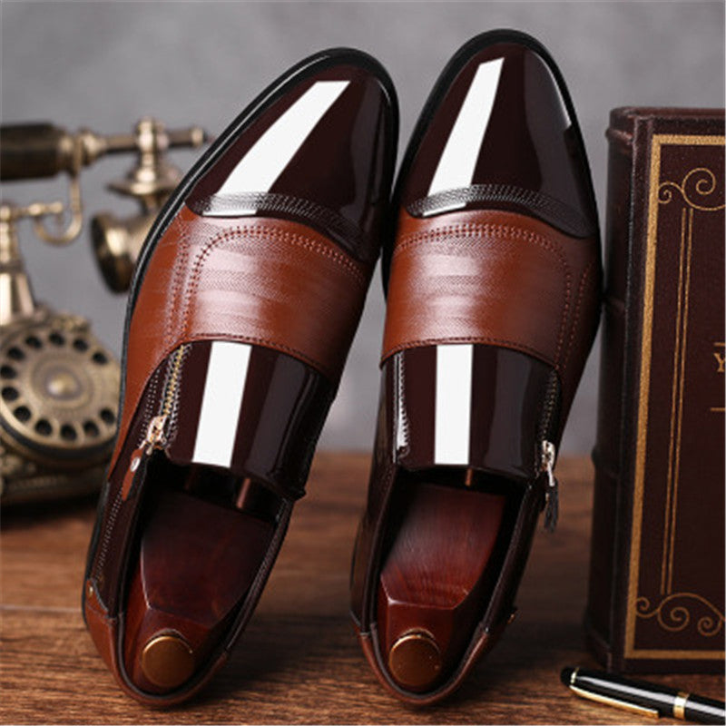 Luxury classic men's pointed dress shoes men's patent leather black wedding shoes Oxford shoes large size dance shoes