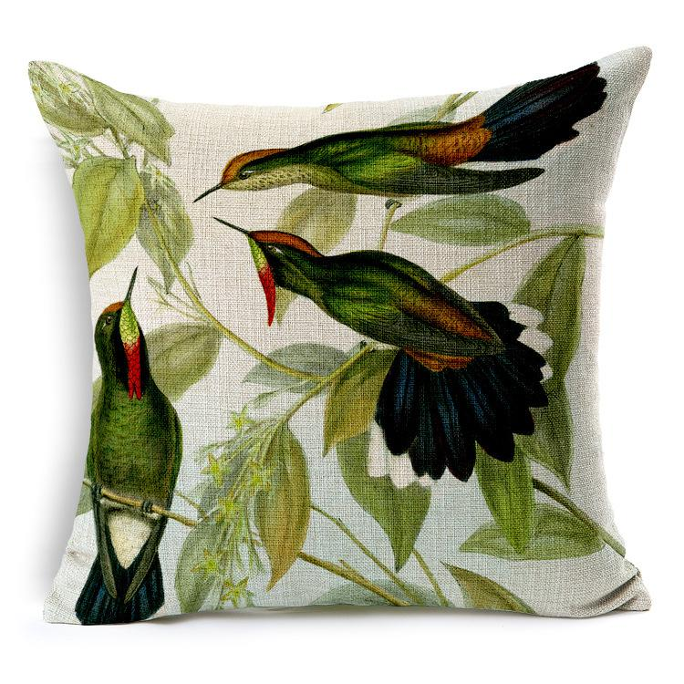 Hand Painted Hummingbird Square Cushion Cover Decorative Pillows Simple Hand Painted Decorative Pillows